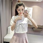 全4色 半袖Tシャツ スリム レースアップ 引き紐 カットソー リボン付き 韓国風
