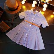 女児 春服 スカート ストライプス ウエスト 半袖 気質 半袖のワイシャツ 襟 児童 ワ