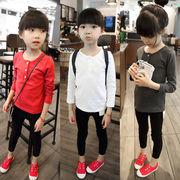春服 新しいデザイン 韓国風 単一色 女子供服 ストレッチ 赤ちゃん 長袖Tシャツ 児童