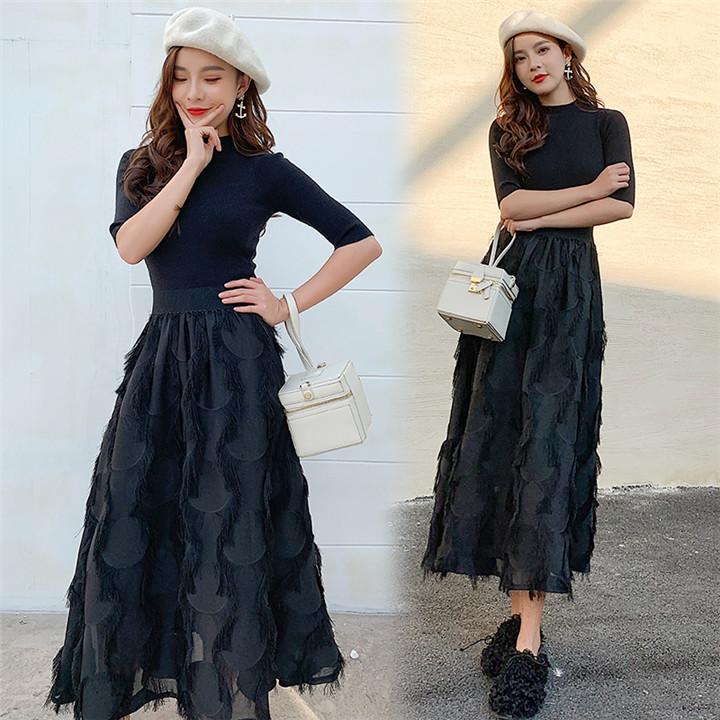 インスタでも話題 韓国ファッション CHIC気質 お春物  気高い ニットスカート  2点セット