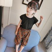 小中児童 春 キッズ洋服 プリント 新しいデザイン 児童 丸襟 シャツ 韓国風 半袖 パ