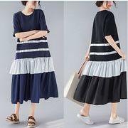 【春夏新作】ファッション/人気ワンピース♪ブラック/ダークブルー2色展開◆