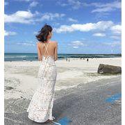 春に入る前の準備  着まわし抜群 気質 韓国ファッション 海辺のリゾートスタイル  レース  ビーチドレス