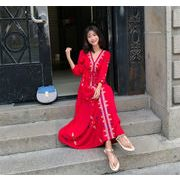 秋冬新作早割特価 買い逃し注意  韓国ファッション  CHIC エスニック風  ワンピース   ボヘミアンドレス