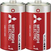 三菱 単1形マンガン乾電池(赤)2本  R20PD/2S  【まとめ買い10点】