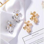 ピアス メタリック 立体 花 フラワー 合金装飾 アクセサリー