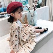 キッズ ワンピース スカート ドレス スーツ ミディドレス プリント ストライプ 女の子 韓国子供服