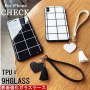 iPhone6-XSMAX スマホケースチェック柄 欧米風 TPU+背面強化ガラス ストラップチャーム付き