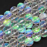 連 人工石 ルナフラッシュ レインボーグラスオーラ クリア カット 10mm  品番: 9450