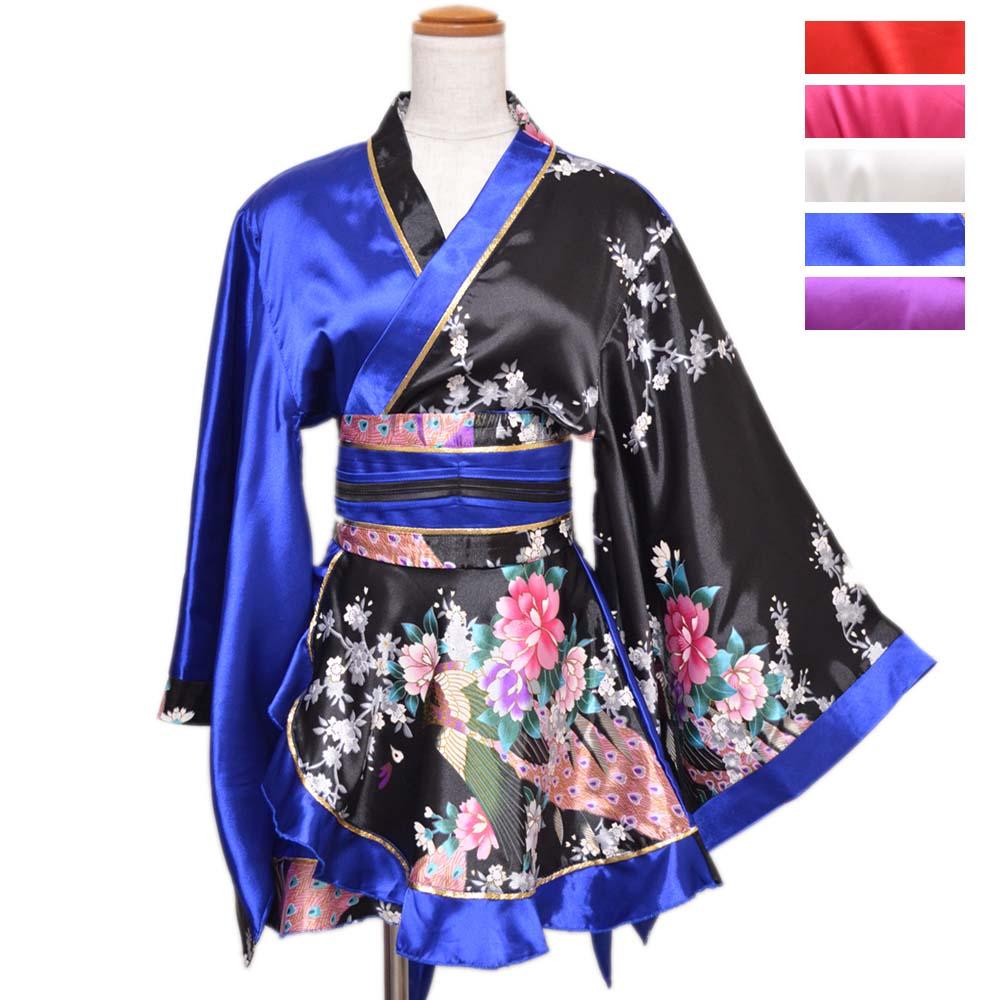 【新色追加】1016配色孔雀柄フリルミニ着物ドレス 和柄 衣装 ダンス よさこい 花魁 コスプレ キャバドレス