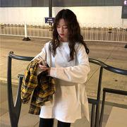 春 新しいデザイン 韓国風 単一色 分岐 ルース 長袖Tシャツ トップス 女 怠惰な ボ