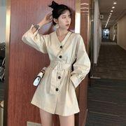 春 新しいデザイン レトロ ウエスト シングル列ボタン ひもあり 長袖 襟 ファッション