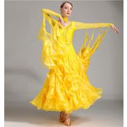 a751【社交ダンス】モダンなダンス ドレスS~XXXL[黄色]★
