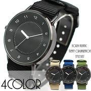 レフトクラウンのシンプル黒文字盤 アラビア数字 NATO風 SPST031 レディース腕時計