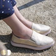 フラットシューズ 履きやすい シルバー ゴールド パンチング 靴 スリッポン レディース