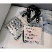 クリアバッグ 透明バッグ ポーチ付き ビニールバッグ PVCバッグ スパンコール 英文字ロゴ トートバッグ