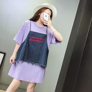 【即納】2セット/半袖Tシャツ+デニムビスチェ_vc8269074