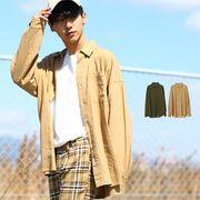 【2019春夏新作】メンズ 麻混 リネン 長袖 ビッグシルエット シャツ