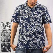 ☆【2019夏新作】T/C梨地 ボタニカル総柄 4つボタン スキッパー ポロシャツ