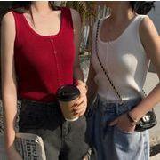 3色 韓国風 夏装 百掛け シングル列ボタン ニットベスト ストラップ  袖なし トップス レトロ 着痩せ 人気