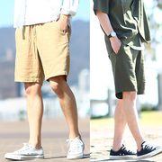 綿 麻 リネン ショートパンツ メンズ ハーフパンツ ショーツ 短パン イージーパンツ きれいめ カジュアル