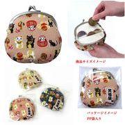 「和物」「猫グッズ」日本製 笑福猫 がま口 3.3 らっきょ玉 3色アソート