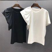 【値段下げました】全2色 半袖Tシャツ フリル 着痩せ スリム ラウンドネック アシンメトリー