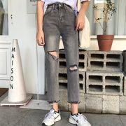 第1 番 ピープル ホーム 新しいデザイン 着やせ 女性のジーンズ 穴あき 何でも似合う