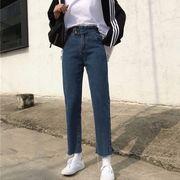 第1 番 ピープル ホーム 韓国風 ハイウエスト ルース 着やせ 女性のジーンズ 何でも