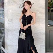 第1 番 ピープル ホーム 女性服 春 ワンピース ブラック ウエストマーク ドレス 中