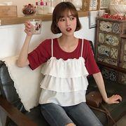 第1 番 ピープル ホーム 女性服 層 卵 ケーキ フリル ベスト 単一色 半袖Tシャツ