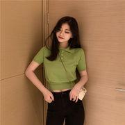 第1 番 女性服 韓国風 何でも似合う 単一色 ラペル シャツ 薄いスタイル ニット 半