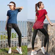 大きいサイズ レギンス ショートパンツ付き 10分丈 スポーツウェア 体操 運動 ヨガパンツ L-5L 79817
