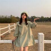 韓国風 春 新しいデザイン かわいい 若くなる 人形の襟 ルース 着やせ 単一色 提燈