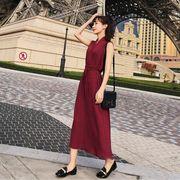 全3色 韓国風 夏装 新しいデザイン レディースワンピース 袖なし Vネック マキシワンピース スリム ポップ