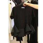半袖Tシャツ フリル 切り替え 体型カバー 無地 シンプル sweet系
