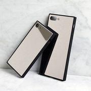 シルバー・ミラー・スクエア・背面ガラス・Phone7・8・Plus・iPhoneX・XS・XR[スマホケース/iPhoneケース]