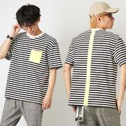ボーダー Tシャツ メンズ レディース カットソー 半袖 クルーネック 蛍光 ポケット トップス ストリート系
