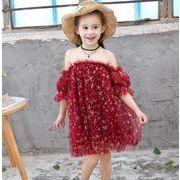 子供 ドレス ワンピース 入園式 キッズドレス 女の子ドレス ヒトデ柄ドレス 春夏ドレス