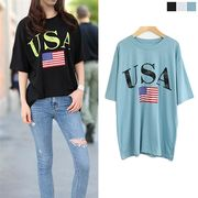 USA ビンテージプリント 半袖Tシャツ カジュアル 可愛い シンプル カットソー 夏トップス 半袖