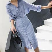 春の新商品 韓国風 韓国ファッション  CHIC気質  ラペル 長袖 中・長セクション シャツ 通勤 OL 卒業式