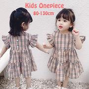 2019夏女の子 子供服 ガールズ ワンピース チェック柄 半袖 おしゃれ 可愛い フリル ゆったり フライ袖