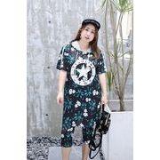 春夏新商品730709 大きいサイズ ドレス 婦人服 日韓風 2点 Tシャツ + パンツ3L 4L 5L 6L