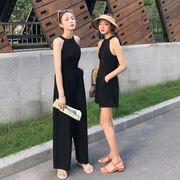ガールフレンド服装 春 新しいデザイン 韓国風 ハイウエスト 小 心 機 背中開き ひも