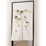 ●麻混手描き六瓢福雀のれん 150cm丈