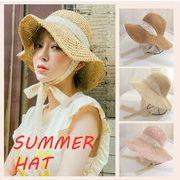 一部即納 夏 レディース 麦わら帽子 つば広 UVカット レース あご紐付き リボン おしゃれ 草編み 小顔効果