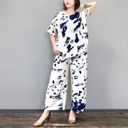 【目玉商品】2019春夏 フレックス混ウォッシュペイントセットアップ (ブラウス・パンツ)