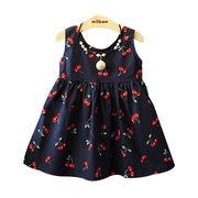 女児 児童 洋室 ちび プリント コットン 何でも似合う ワンピース ドレス キッズ洋服