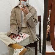 春服 新しいデザイン 韓国 風 ルース 何でも似合う 着やせ コーデュロイ 長袖シャツ