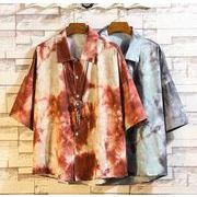 メンズ新作ワイシャツ 半袖トップス 花柄 大きいサイズ ゆったり ブラック/レッド2色
